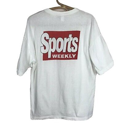 Vintage Sports Weekly Graphic Tee L Front And Back Print Single Stitch White EUC