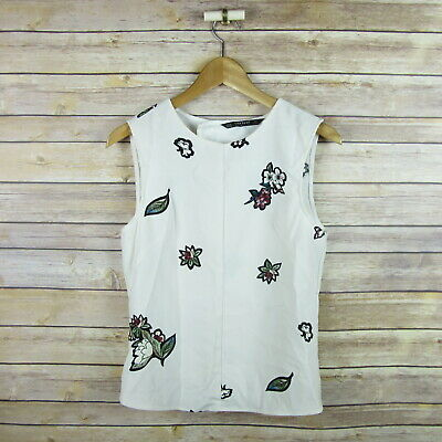 ZARA Basic Collection Women's Sleeveless Open Back Blouse XS Extra Small Floral