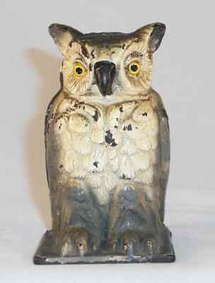 Antique Cast Iron Painted Still Penny Bank Owl Standing Vindex Toys Belvidere IL