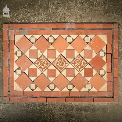 Early 1900's Minton & Hollins Quarry Tile Decorative Doorstep Entrance Hall Mosa