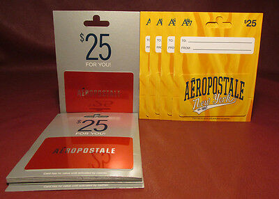 Lot of 12, Assorted AEROPOSTALE $25 Gift Cards New Unused No $$ Monetary Value
