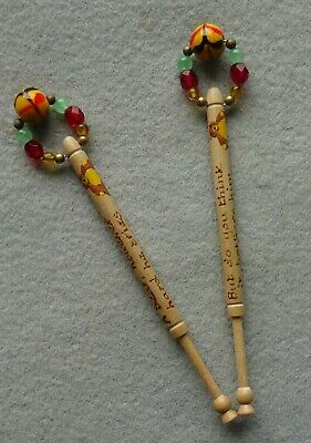 A Pair of Turned Wood Lace Maker's Bobbins with Spangles Motto - Teddy Bear Poem