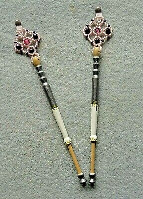 A Pair of Hand Painted Lace Maker's Bobbins with Bead Work Spangles