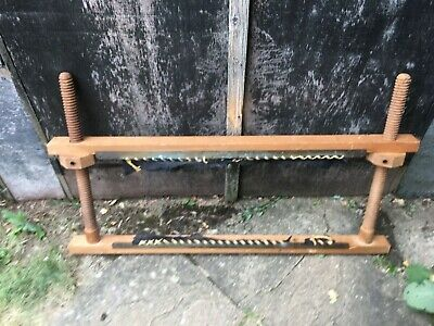 Vintage Adjustable Tapestry Frame Wood+ Brass Fixings / Heavier Fabrics Leather