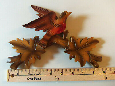 Vintage Carved Wood Cuckoo Clock Crown Painted Birds & Leaves