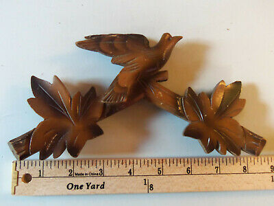 Vintage Two Toned Carved Wood Crown For Cuckoo Clock Birds & Leaves
