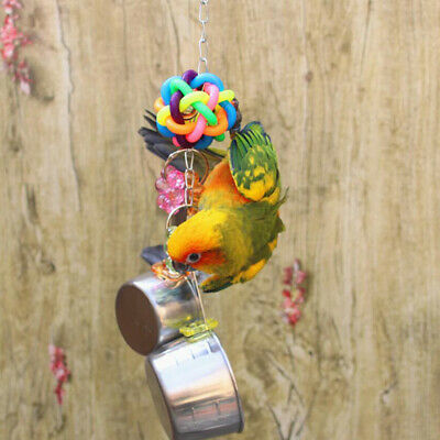 Pet Parrot Bird Bites Colorful Toy Climb Chew Toys Swing Cage Hanging W