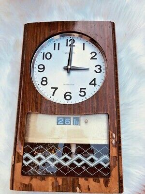 Old wall clock Made of natural wood vintage