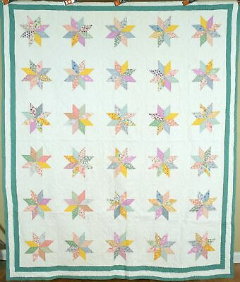 NICELY QUILTED 30's Variable Star Antique Quilt ~BEAUTIFUL VINTAGE PRINTS!