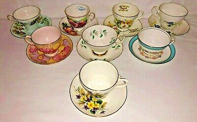 Antique Estate Lot 8 English Fine Bone China Teacups & Saucers  Aynsley Crown