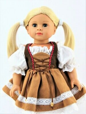 """German National Dirndl Costume Dress For 18"""" American Girl Doll Clothes"""