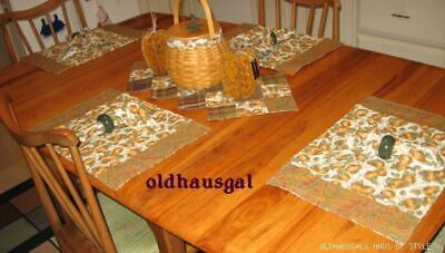 NEW Placemats, Napkins + Matching Table Runner Longaberger Pumpkin Patch 9pc Set
