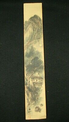 ANTIQUE (c.1920) JAPANESE SIGNED PAPER TANZAKU HAND PAINTED TEA HOUSE