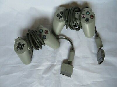 Official Sony Playstation 1 Controllers Bundle of 2 Grey SCPH-1080