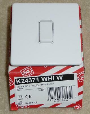 MK 1 Gang 20A SP 2 Way Monobloc Switch White K24371 WHI W Made in UK NEW, BOXED!