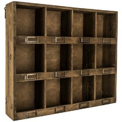 Rustic Antique Brown Wooden Wall Shelf with 12-Slots XXXL