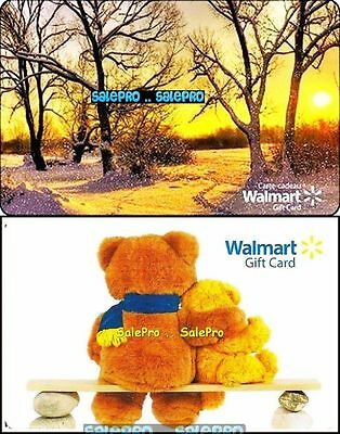 2x WALMART AUTUMN FOREST SUNRISE SCENE TOY BEAR RARE COLLECTIBLE GIFT CARD LOT