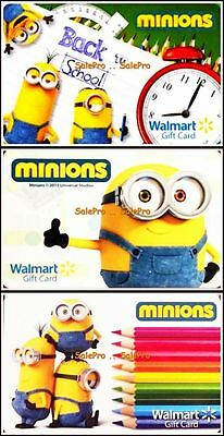 3x WALMART 2015 UNIVERSAL STUDIO MINIONS BACK 2 SCHOOL COLLECTIBLE GIFT CARD LOT