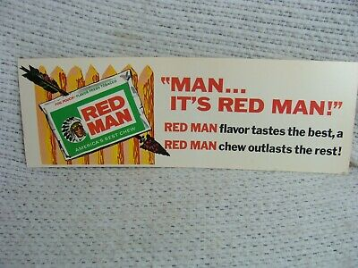 "Vintage 1950's Red Man Chewing Tobacco Gas Station 14"" Sign with Indian"