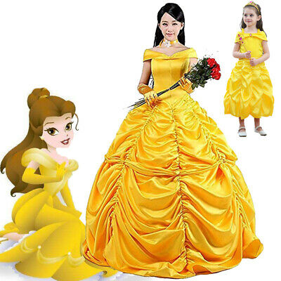 Women Girls Beauty and The Beast Princess Belle Cosplay Costume Ball Gown Dress