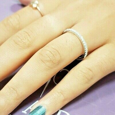 Brilliant Natural Diamond Engagement Ring Wedding Band 14k Solid White Gold