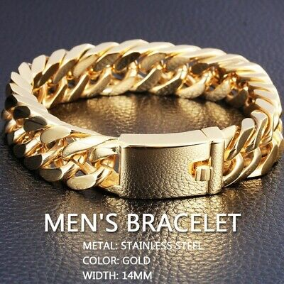 """Gold Plated Men's Jewelry  Stainless Steel Curb Cuban Chain Bracelet 8.5"""" 2019"""