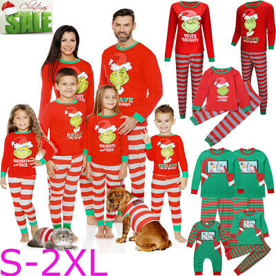 UK Christmas Family Matching Pyjamas PJs Set Xmas Santa Kids Sleepwear Nightwear