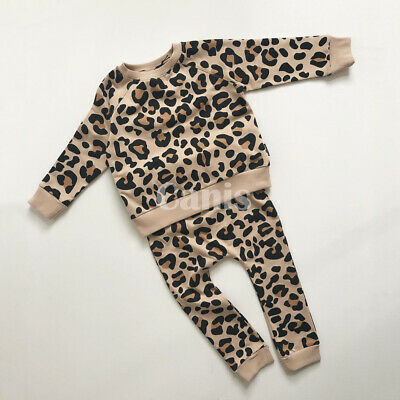 Toddler Kids Baby Girl Winter Clothes Leopard Tops Pants Outfits Set Tracksuit