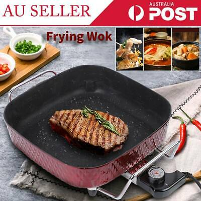 Electric Frying Non-stick Steaming Boiling Pan Wok Multifunction with Glass Lid