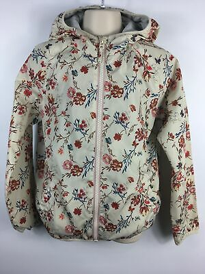 Girls Next Cream Red Teal Floral Hooded Zip Up Lightweight Jacket Mac Age 11