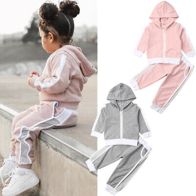Toddler Kids Baby Girl Winter Clothes Hooded Tops Coat+Pants Outfits Tracksuit