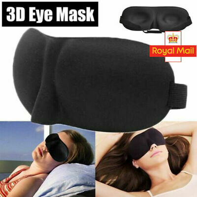 3D Soft Padded Blindfold Blackout Eye Mask Travel Rest Shade Cover Sleep Aid UK