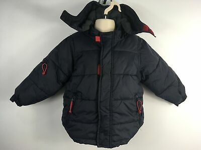 Boys Mini Boden Navy Blue Zip Up Padded Jacket Coat Detachable Hood Age 12-18Mth