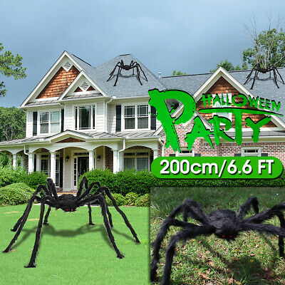 200cm/6.6 FT Halloween Black Giant Huge Spider Indoor Outdoor Garden Decor Props
