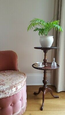 Antique c1890 Two Tier Occasional Side Lamp Tea Table Buffet Server Plant Stand