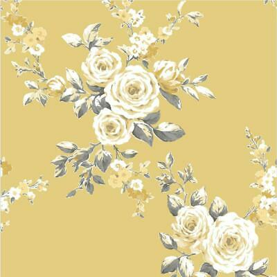 Floral Ochre Wallpaper Yellow Grey White Flowers Catherine Lansfield Canterbury