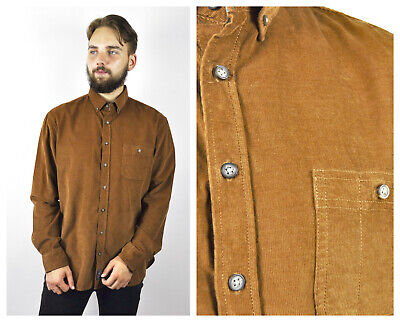 VTG C&A Men Large Corduroy Casual Long Sleeve Shirt Buttons Brown Soft Cords Top