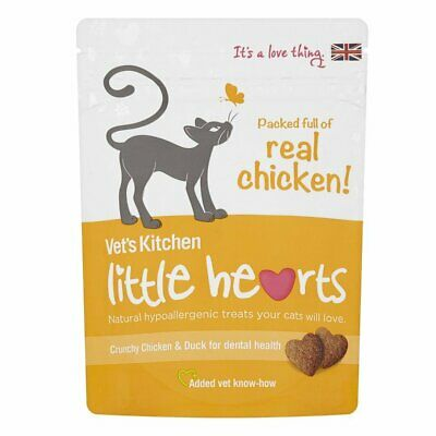 Vets Kitchen Little Hearts Cat Treats - Crunchy Chicken & Duck - 60g