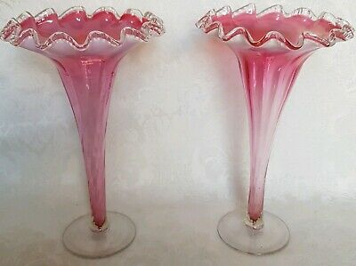 Pair of Antique Victorian Era Art Glass Fluted CRANBERRY  opalescent Vases