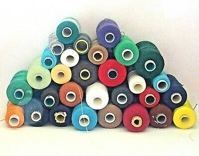 30 Vintage Spools of Mostly Cotton Thread in Various Colours