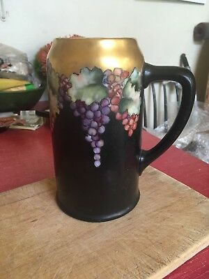 Gorgeous Art Nouveau Octoberfest Beer Stein Hand Decorated Grapes and Gold