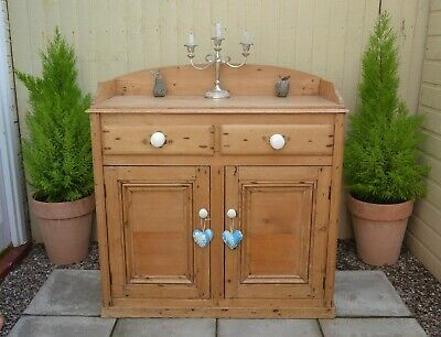 Lovely Victorian Stripped Pine Washstand Sideboard Cupboard Cabinet Antique