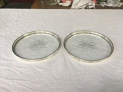 Pair Gorham Sterling and Crystal Champagne Coasters Trivets #1320 Excellent