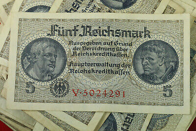 5 Reichsmark Nazi Germany Currency German Banknote Note Money Bill Swastika Ww2
