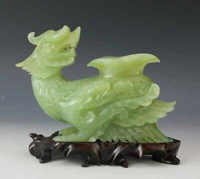 Chinese Export Carved Green Celadon Jade Feathered Dragon Bird Vase on Wood Base