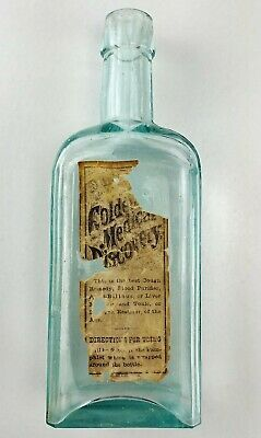 Vintage Blue Medicine Bottle Buffalo NY Paper Label Dr. Pierce Doctor Cabinet