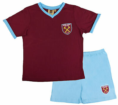 Boys Official West Ham United Short Pyjamas 100% Cotton Football Shortie PJs