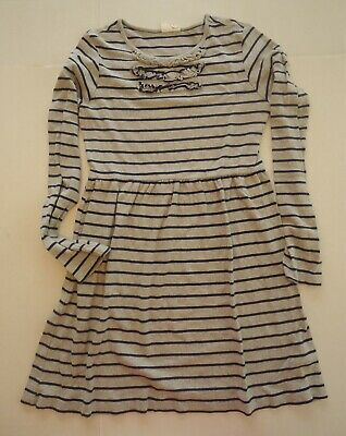 Girls 11-12 Y Gray and Navy Blue Striped Mini Boden Dress