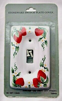 NEW~Stoneware Switch Plate Cover, Ceramic, Single Toggle Strawberries