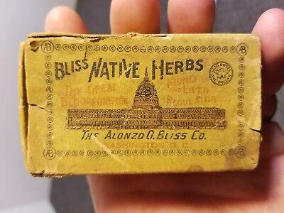 Antique Vintage Bliss Native Herbs Alonzo G Bliss Co Washington DC Cardboard Box
